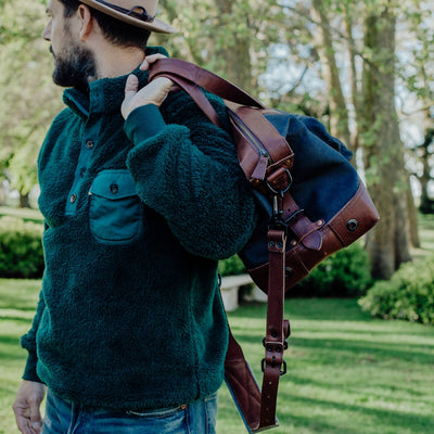 Well Made Canvas Weekend Travel Bag | Navy Charcoal w/ Chestnut Brown Leather