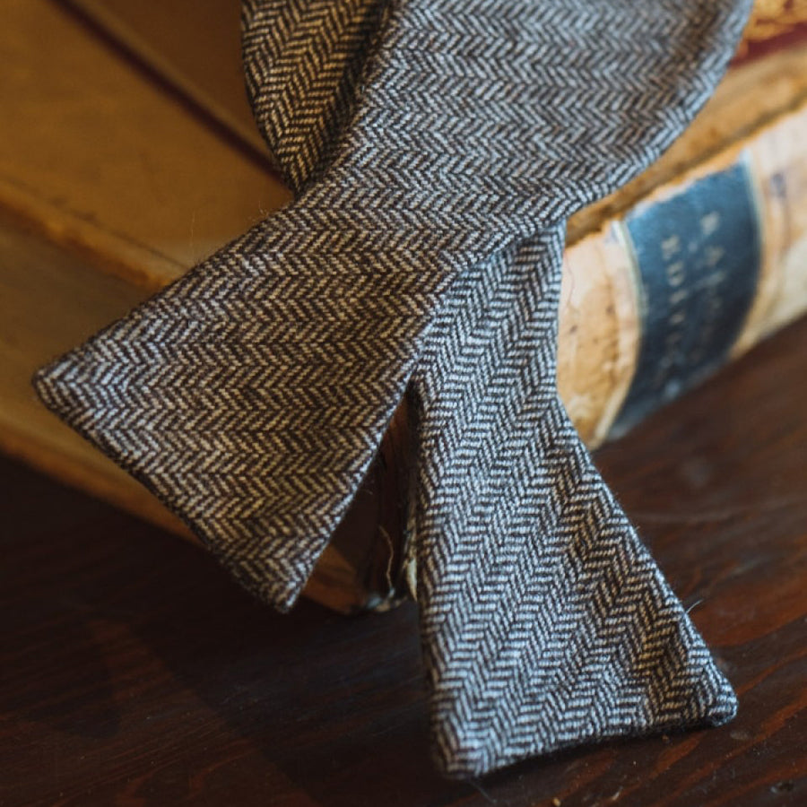 Herringbone Wool Bow Tie