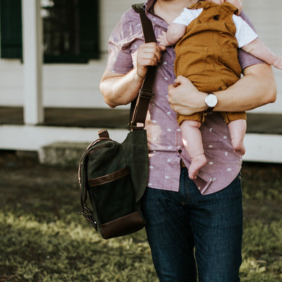 Elkton Waxed Canvas Diaper Bag | Green w/ Dark Briar Leather hover