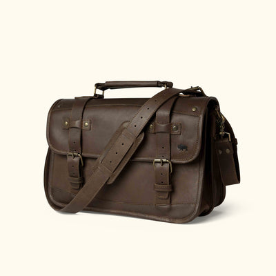 Vintage Leather Briefcase Dark brown turned