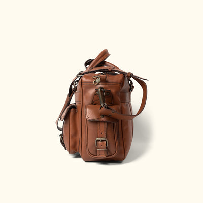 Men's Vintage Leather Pilot Bag | Amber side