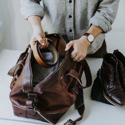 Modern Waxed Canvas Oversized Weekend Bag Brown