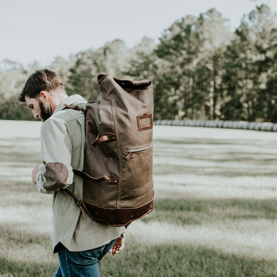Men's Canvas Leather Seabag - Khaki