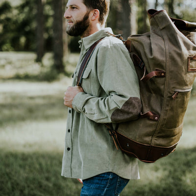 Men's Waxed Canvas Military Sea Bag Backpack Khaki