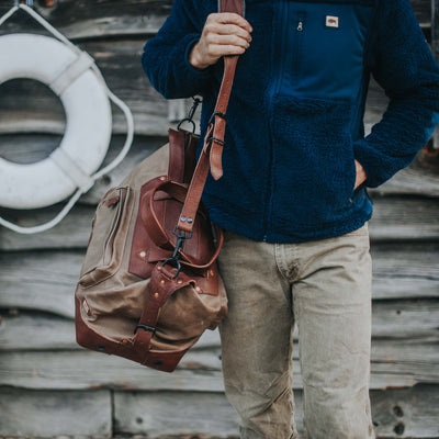 Dakota Waxed Canvas Weekend Bag | Field Khaki w/ Chestnut Brown Leather hover