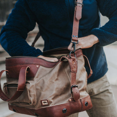 Rugged Travel Canvas Weekend Bag | Field Khaki w/ Chestnut Brown Leather