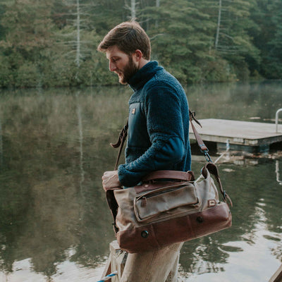Rugged Outdoors Waxed Canvas Weekend Bag | Field Khaki w/ Chestnut Brown Leather