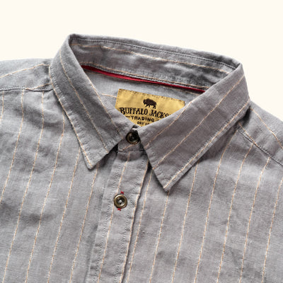 Mens Striped Linen Short Sleeve Shirt Contrast Stitching Details