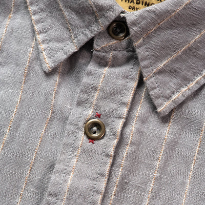 Mens Short Sleeve Striped Shirt With Rustic Metal Buttons