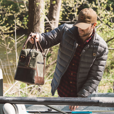 Elkton Waxed Canvas Soft Cooler | Moss w/ Autumn Brown Leather