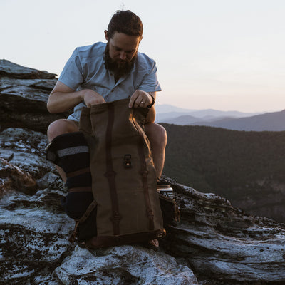 Men's Rugged Canvas Rolltop Backpack | Field Khaki