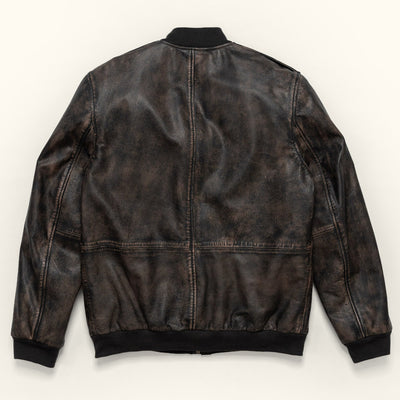 Men's Vintage Leather Bomber Jacket - Black