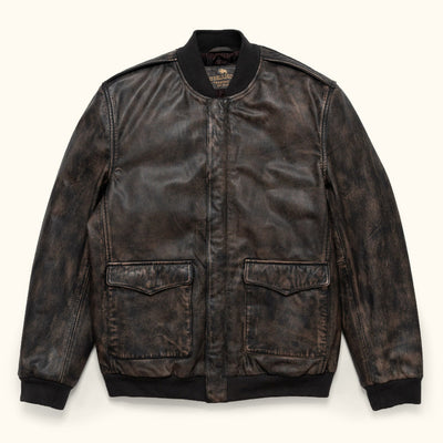 Classic Leather Bomber Jacket - black