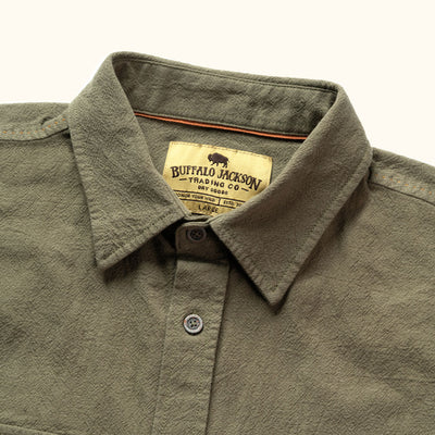Olive Linen Short Sleeve Rondon Shirt