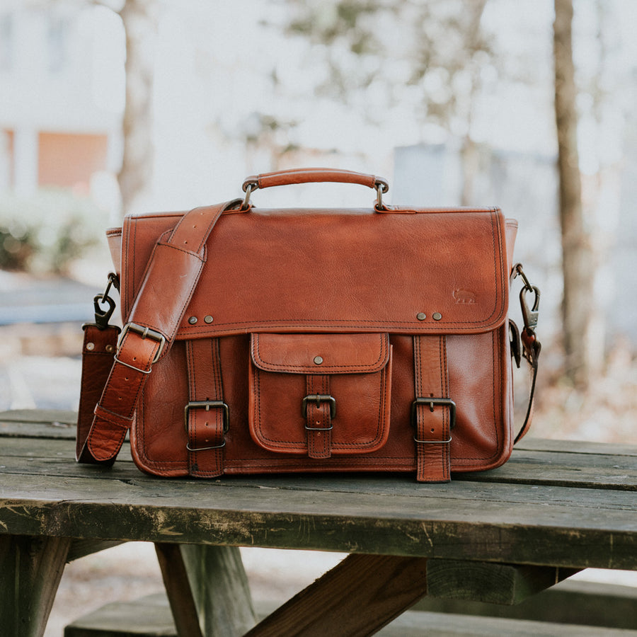 Rugged Leather Briefcase Bag | Amber front