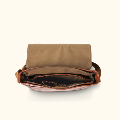Buffalo Leather Messenger Bag - Large | Amber interior