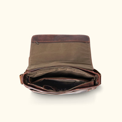 Buffalo Leather Messenger Bag - Large | Dark Oak interior