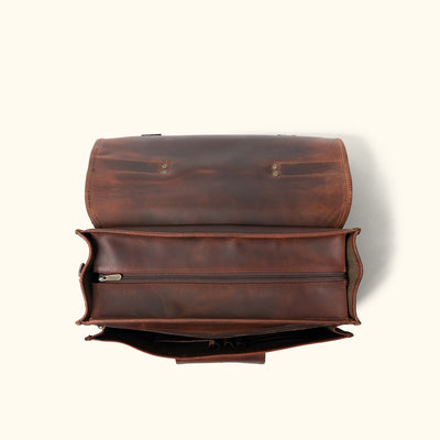 Men's Leather Briefcase Bag | Dark Oak interior