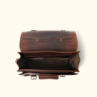 Modern Leather Briefcase Bag | Dark Oak