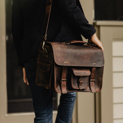 Gentleman's rugged Leather Briefcase Bag | Dark Oak hover