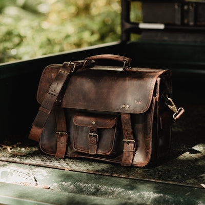 Mens Vintage leather briefcase bag dark oak