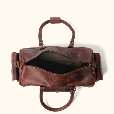 Rugged travel Leather Duffle Bag | Dark Oak interior
