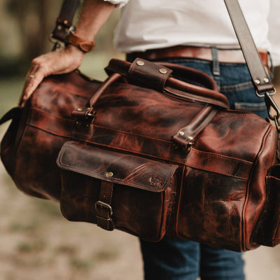 mens vintage leather duffle bag dark oak