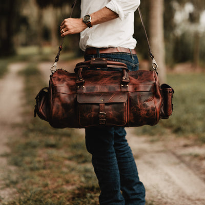 Vintage Leather Duffle Bag | Dark Oak hover