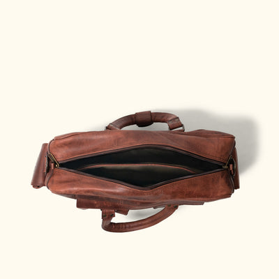 Travel Leather Pilot Bag - Large | Dark Oak interior