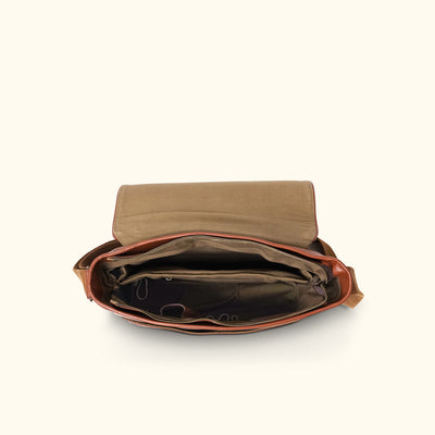 Leather Messenger Bag | Amber interior