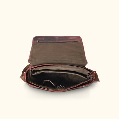 Interior Leather Satchel Messenger Bag | Dark Oak