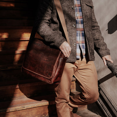 Rugged buffalo leather messenger bag