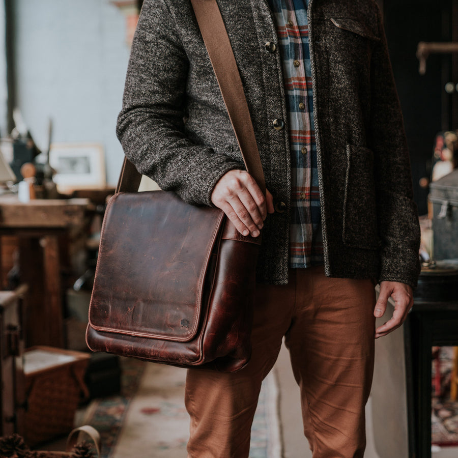 Buffalo Leather Satchel Messenger Bag Front