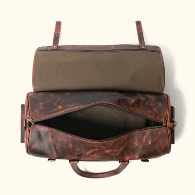 Men's Vintage Leather Travel Duffle Bag | Dark Oak interior