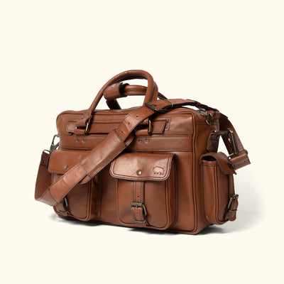 Rugged Leather travel Pilot Bag | Amber turned