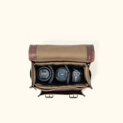 Men's travel Camera Bag | Dark Oak interior