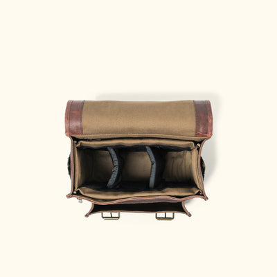 Men's Buffalo Leather Camera Bag | Dark Oak