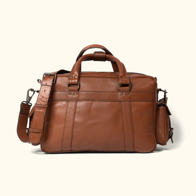 Men's vintage Buffalo Leather Pilot Bag | Amber back