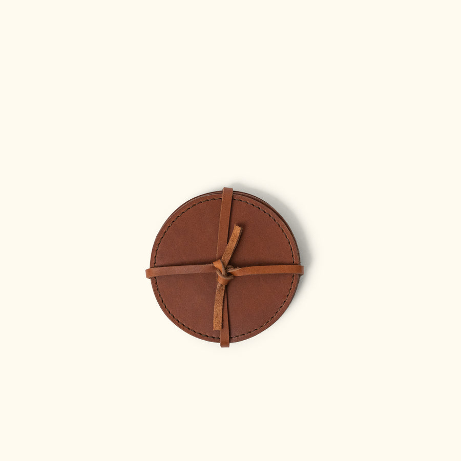 Denver Leather Coasters (Set of 4) - Round | Autumn Brown