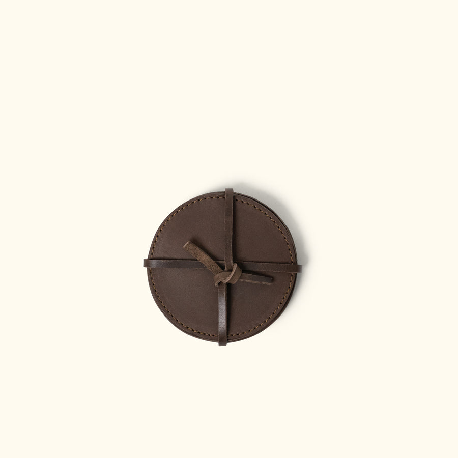 Denver Leather Coasters (Set of 4) - Round | Dark Briar
