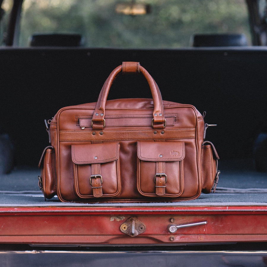 Vintage Leather Travel Pilot Bag | Amber front