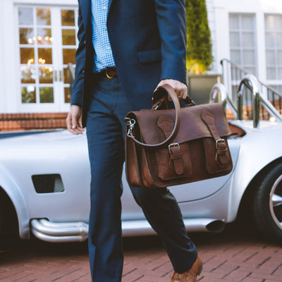 Ryder Reserve Bison Leather Briefcase | Brown hover