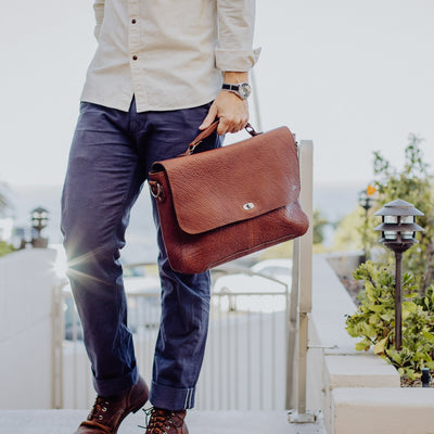 Ryder Reserve Bison Leather Laptop Messenger Bag | Brown