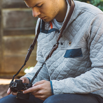 Dakota Leather Camera Strap | Dark Hazelnut hover