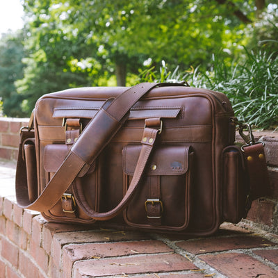 Vintage Leather Pilot Bag | Dark Oak