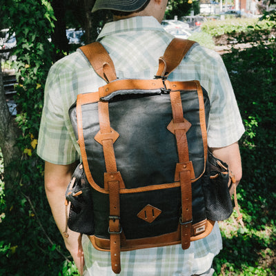 Vintage Waxed Canvas Commuter Backpack | Navy Charcoal w/ Saddle Tan Leather hover