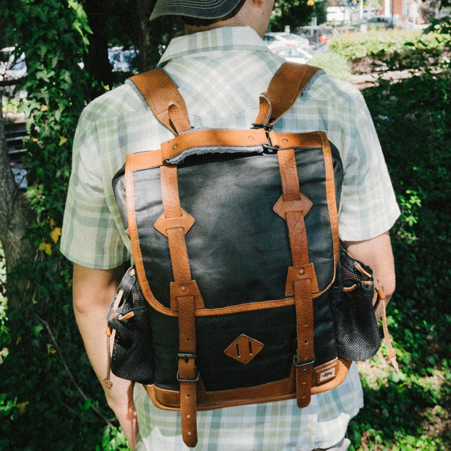 Dakota Waxed Canvas Commuter Backpack | Navy Charcoal w/ Saddle Tan Leather