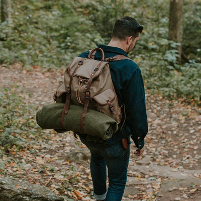 Rugged Canvas Rucksack | Field Khaki w/ Chestnut Brown Leather hover