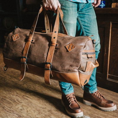 Men's Brown Leather Canvas Travel Duffle