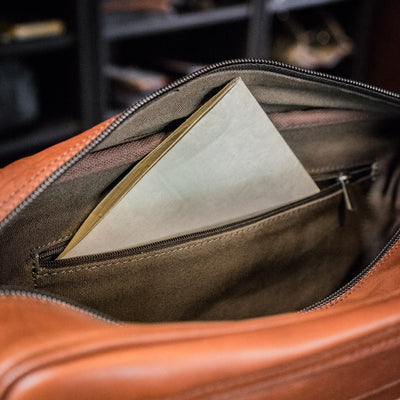 Leather Pilot Bag | Amber interior